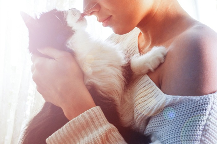 飼い主の女性の花を舐める猫