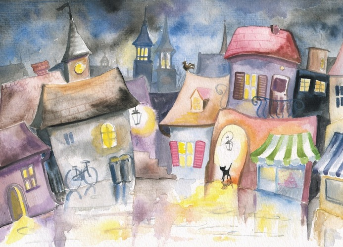 夜の町と一匹の黒猫が描かれた絵