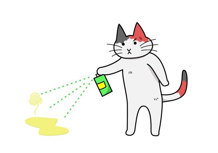消臭する猫のイラスト