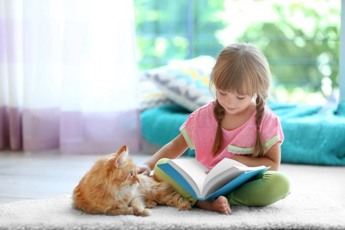 本を読んでいる少女と猫