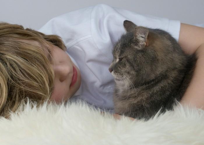 見つめ合う少年と猫