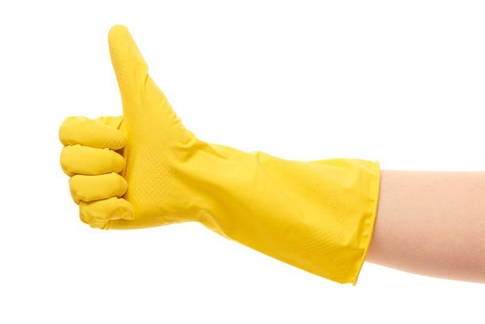 黄色の手袋