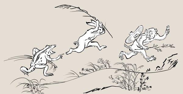 サルたちの鳥獣戯画
