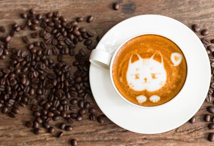 猫が描かれたコーヒー