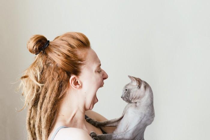 猫に向かって大声を出す女性
