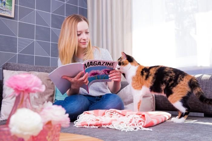 雑誌を読む女性と猫