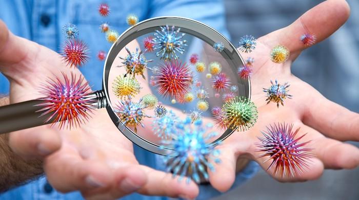 人の手と様々なウイルス