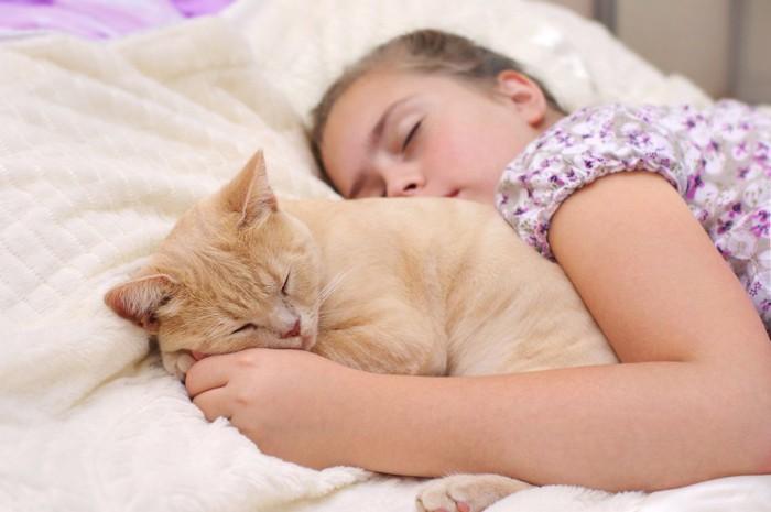 ベッドで横になる女の子とそのそばで眠る猫
