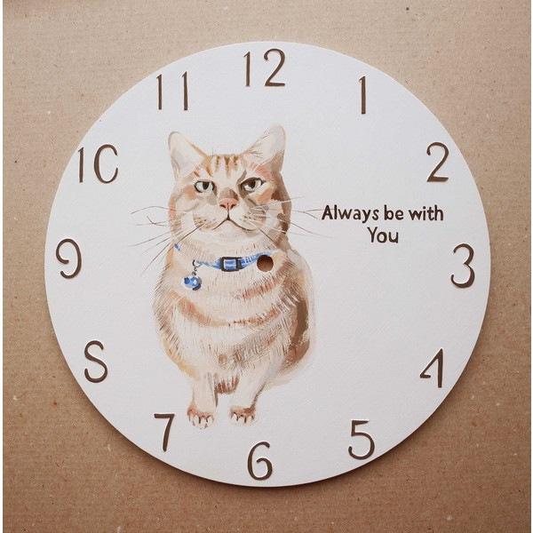 茶トラ猫が描かれた時計