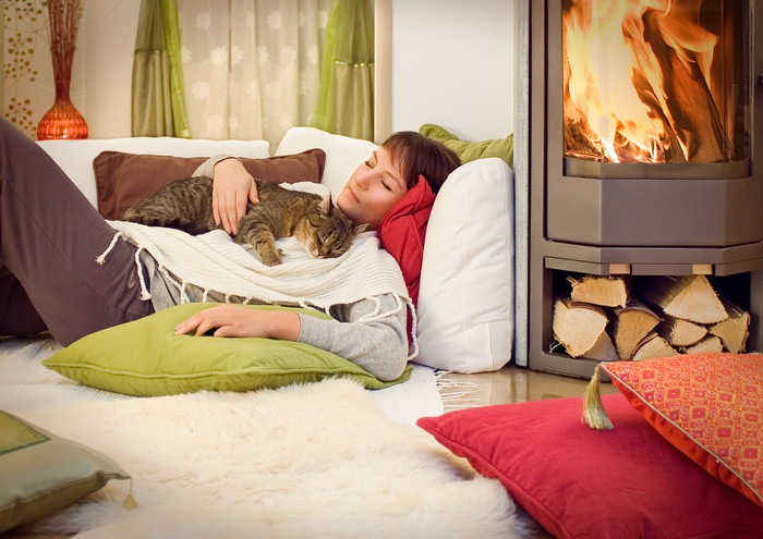 女性と寛ぐ猫の写真