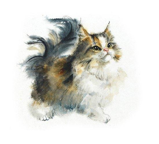 上を見ている猫のリアルなイラスト