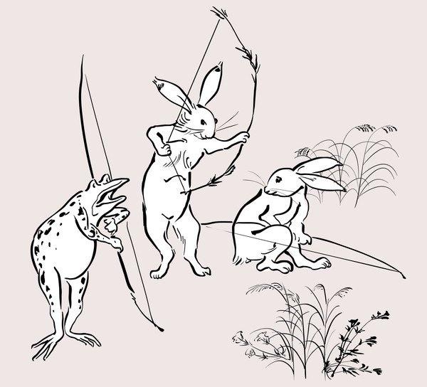 鳥獣戯画ウサギとカエル弓矢を持つ