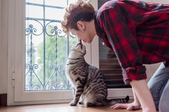 猫とキスする男性