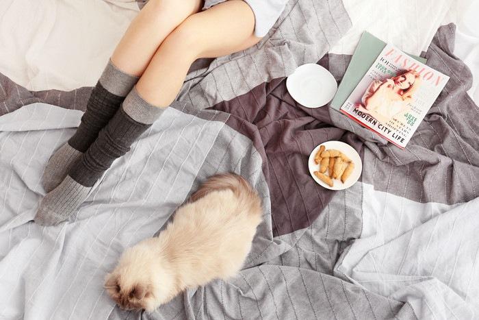 猫と女性と雑誌