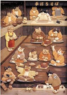 猫さん集合手打ちそば表記彫刻