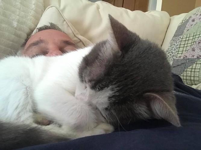 マットの上で熟睡