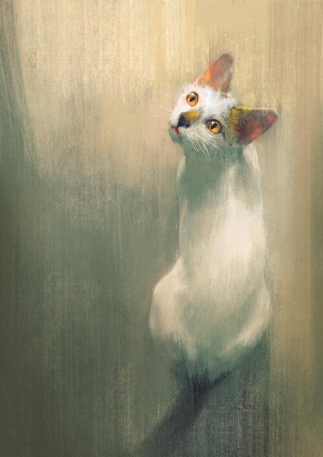 振り返る金色の瞳の白猫の水彩画