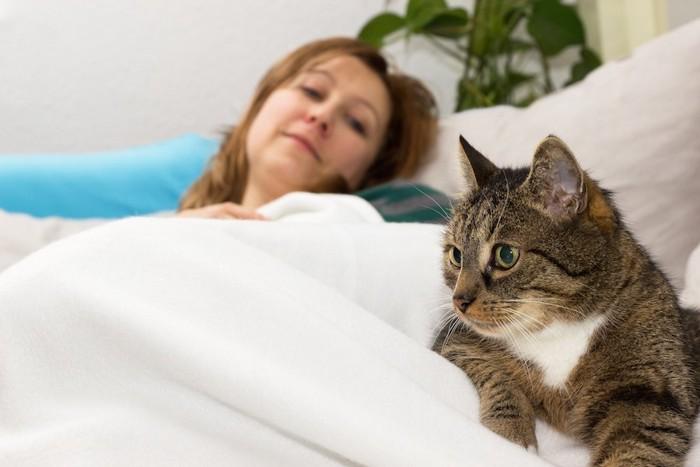 寝込む女性のそばに寄り添う猫