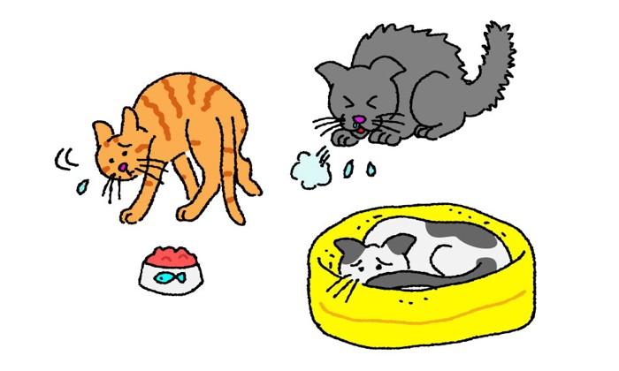 体調不良の猫のイラスト