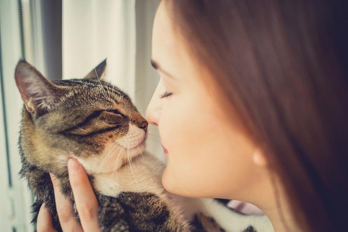 鼻チューをするヒトと猫