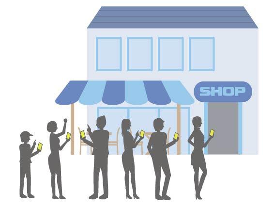 店の前に並ぶ人たち