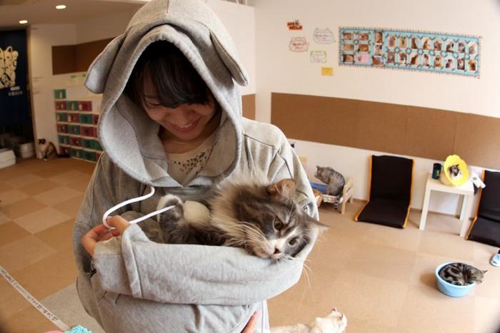 デカぽっけでくつろぐ猫