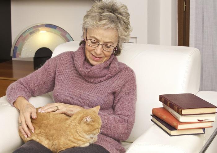 女性と本と猫