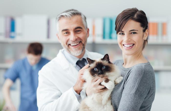 笑顔の獣医と飼い主、抱かれる猫