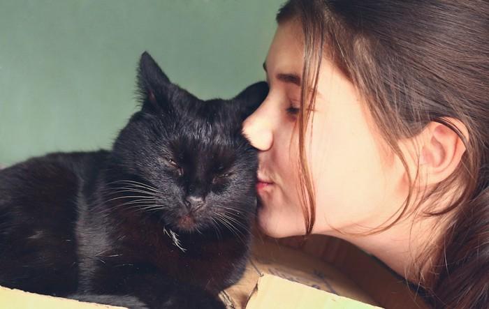 眠る黒猫にキスをする女性