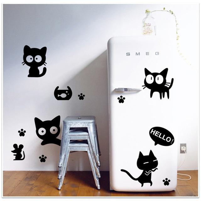 猫のウォールステッカーを使ったキッチン