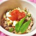 豚肉とキヌサヤとうずら卵のミモザ風パスタ