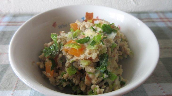 【わんちゃんごはん】簡単!10分で手作りごはん『鶏ひき肉ときのこの卵とじ』のレシピ