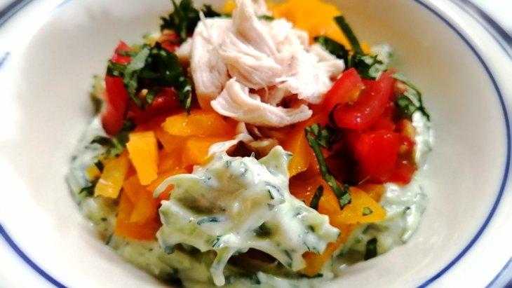 【わんちゃんごはん】夏野菜で簡単10分ごはん『ささみのきゅうりヨーグルトソース』のレシピ