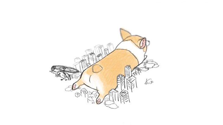 『超巨大な犬達がユルさ120%で街を破壊していく』イラストが話題♡