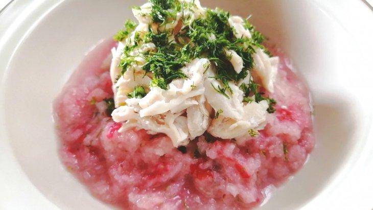 【わんちゃんごはん】『春かぶといちごのささみスープ』のレシピ