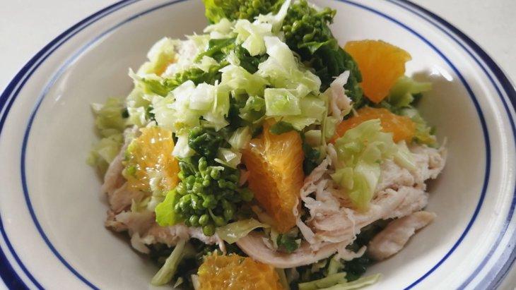 【わんちゃんごはん】春を味わう『蒸し鶏と春キャベツの甘夏マリネ』のレシピ