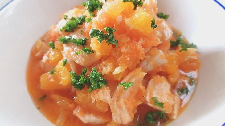 【わんちゃんごはん】元気をチャージ『サーモンオレンジマリネ』のレシピ
