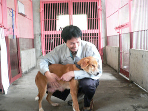 施設のスタッフと犬