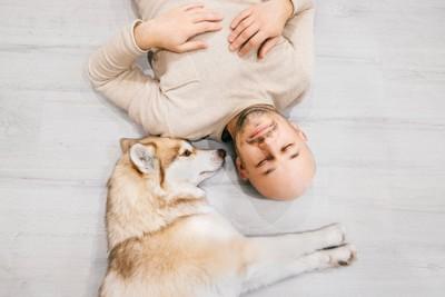 床に寝そべる男性とハスキー