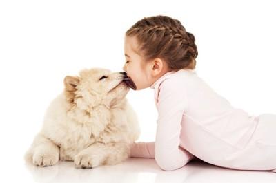 子供の口元を舐める犬