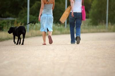 散歩風景黒い犬と2人