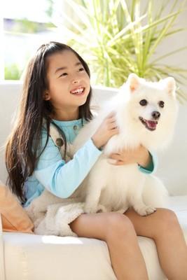 笑顔の女の子の膝の上に座る犬