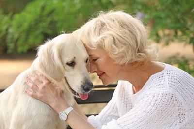 女性と顔をくっつける犬