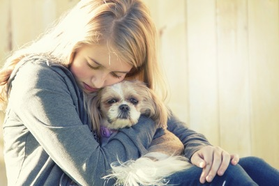 女性に抱かれた犬