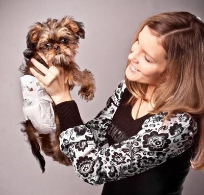 オムツをしている犬を抱き上げる女性
