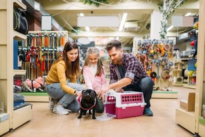 ペットショップで犬用品を選ぶ家族