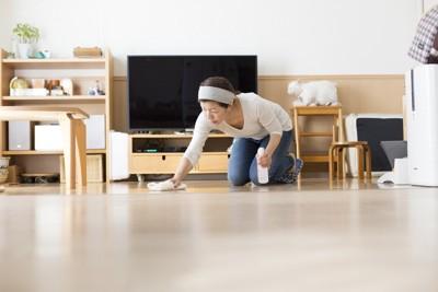 床掃除している女性
