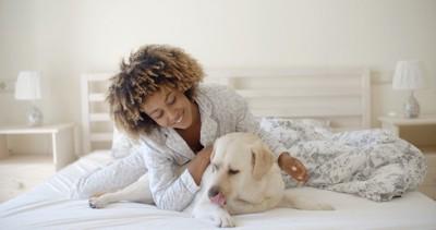 ベッドにいる女性と犬