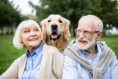 犬を膝に乗せた年配の男性