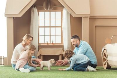 家と車のセットと家族と子犬